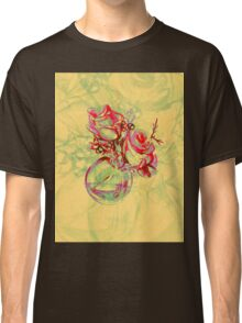 Colorful watercolor painting of roses in a terrarium.  Classic T-Shirt
