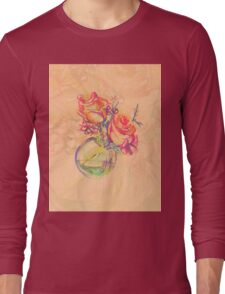 Colorful watercolor painting of roses in a terrarium.  Long Sleeve T-Shirt