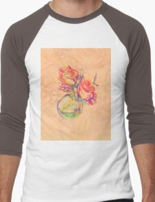Colorful watercolor painting of roses in a terrarium.  Men's Baseball ¾ T-Shirt