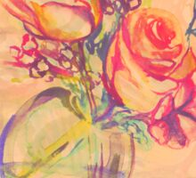 Colorful watercolor painting of roses in a terrarium.  Sticker