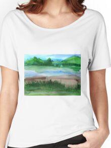\Watercolor Landscape Women's Relaxed Fit T-Shirt
