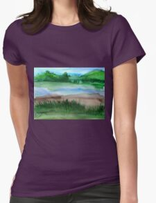 \Watercolor Landscape Womens Fitted T-Shirt