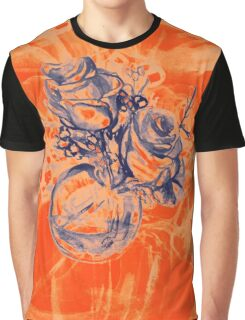 Colorful watercolor painting of roses in a terrarium.  Graphic T-Shirt