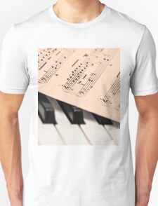 Piano and Notes Sheet Unisex T-Shirt