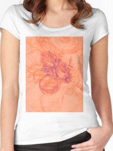 Colorful watercolor painting of roses in a terrarium.  Women's Fitted Scoop T-Shirt