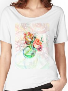 Colorful watercolor painting of roses in a terrarium.  Women's Relaxed Fit T-Shirt