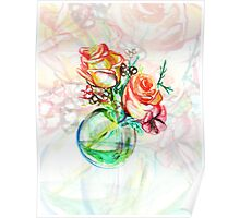 Colorful watercolor painting of roses in a terrarium.  Poster