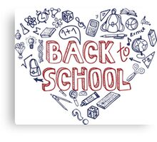 Back to School Supplies Sketchy Notebook.Heart Canvas Print