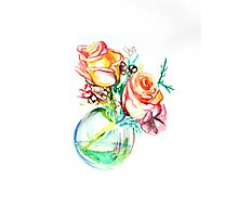 Colorful watercolor painting of roses in a terrarium.  Photographic Print