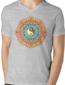Eastern Batik Yin Yang Mens V-Neck T-Shirt