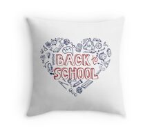 Back to School Supplies Sketchy Notebook.Heart Throw Pillow
