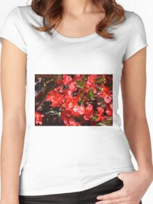 Natural texture with small red flowers Women's Fitted Scoop T-Shirt