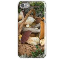 Mushrooms in the Wicker Basket on the Green Grass and Moss iPhone Case/Skin