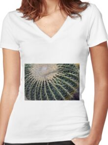 Detail of round cactus Women's Fitted V-Neck T-Shirt