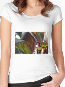 Beautiful natural background with large leaves Women's Fitted Scoop T-Shirt