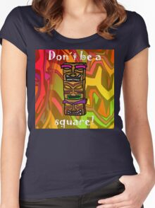 Tiki Squares Women's Fitted Scoop T-Shirt