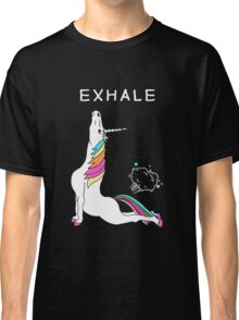 Exhale Yoga T-shirt Unicorn With Rainbow Classic T-Shirt