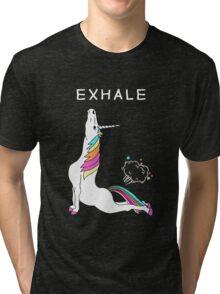 Exhale Yoga T-shirt Unicorn With Rainbow Tri-blend T-Shirt