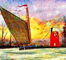 A Leonid style digital painting of a Norfolk Wherry and Windmill by Dennis Melling