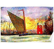 A Leonid style digital painting of a Norfolk Wherry and Windmill Poster