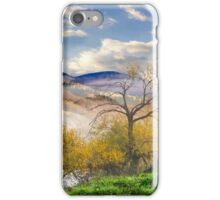 yellow trees in foggy mountains iPhone Case/Skin