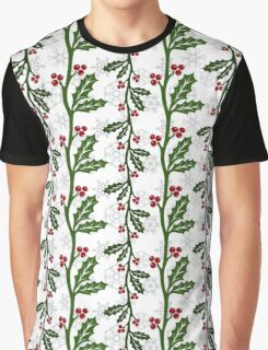 Seamless christmas holly pattern Graphic T-Shirt