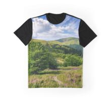 path among purple flowers up to the mountains Graphic T-Shirt