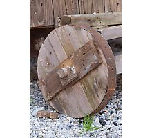 the old wooden wagon wheel Photographic Print