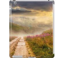wild flowers on the hillside at sunset iPad Case/Skin