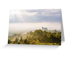 Bobolice Castle in the morning haze Greeting Card