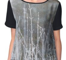 Winter Grass Snow Scene Chiffon Top