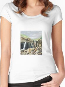 Small waterfall when the rain's arrive,  it's a Large waterfall . Women's Fitted Scoop T-Shirt
