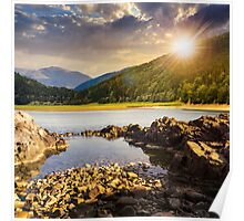 lake shore with stones near pine forest on mountain at sunset Poster