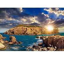 composite island with hills and castle at sunset Photographic Print