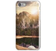 lake near the mountain in pine forest at sunset iPhone Case/Skin