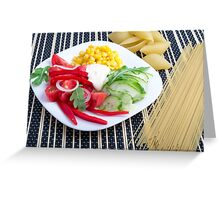 Slices of fresh raw vegetables on a striped background Greeting Card