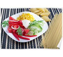 Slices of fresh raw vegetables on a striped background Poster