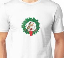Retro Santa Claus and Reindeer Christmas Wreath Unisex T-Shirt