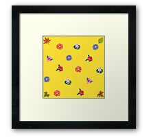 Yellow  background with flowers Framed Print