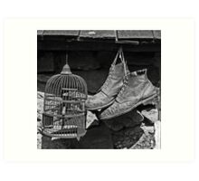 Birdcage and Boots Art Print