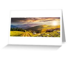 road through the meadow on hillside at sunset Greeting Card