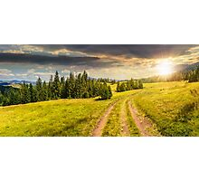 path through meadow to forest in mountain at sunset Photographic Print