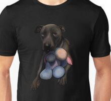 Adorable rescue dog playing with toy - dog lovers Unisex T-Shirt