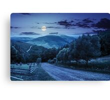 fence near road down the hill with  forest in mountains at night Canvas Print