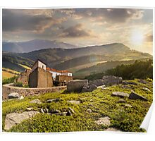 composite landscape with fortress in woods on mountain hillside at sunset Poster