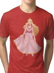 Blond Princess In Pink Yellow Dress Tri-blend T-Shirt