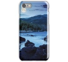 lake shore with stones near forest on mountain at night iPhone Case/Skin