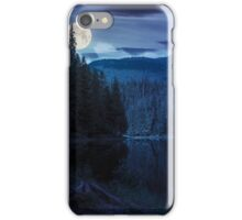 pine forest near the mountain lake at night iPhone Case/Skin