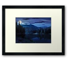 pine forest near the mountain lake at night Framed Print