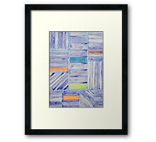 Blue Panel with Colorful Rectangles Framed Print